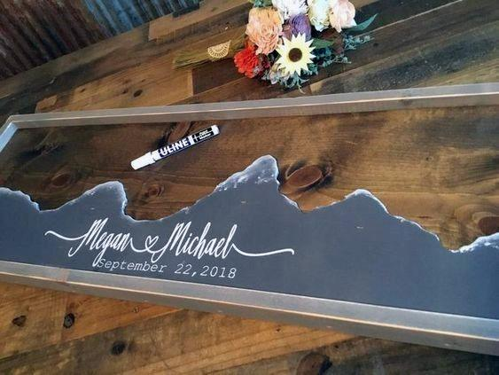 Wedding Guest Book Ideas Rustic Glass With Mountain View