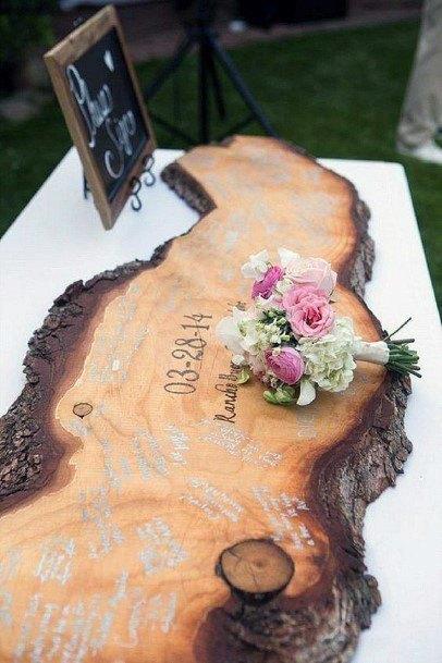 Wedding Guest Book Ideas Rustic Live Edge Wood Slab Inspriation