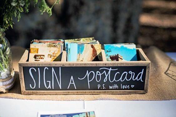 Wedding Guest Book Ideas Vintage Post Card Bucket List
