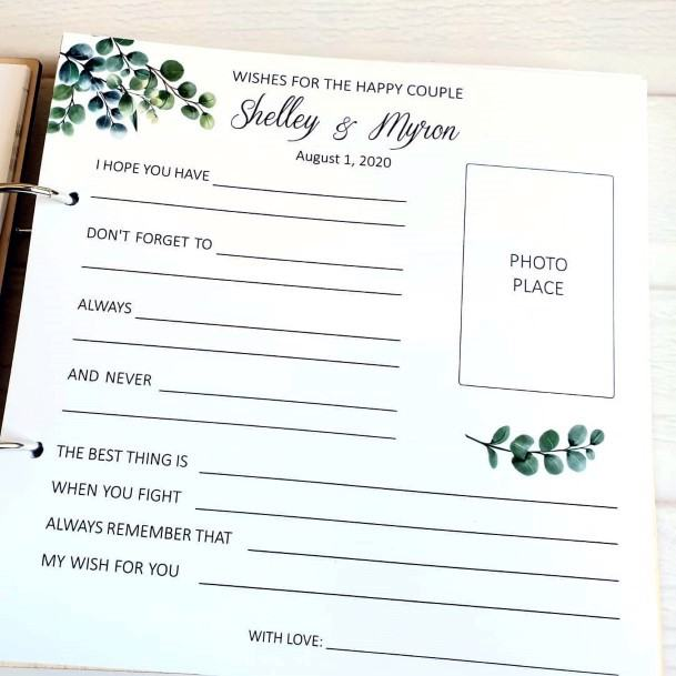 Wedding Guest Book Ideas Wishes For The Couple With Photograph