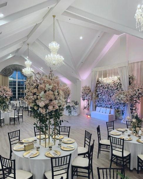 Wedding Long Stemmed Blush Flowers Table Art