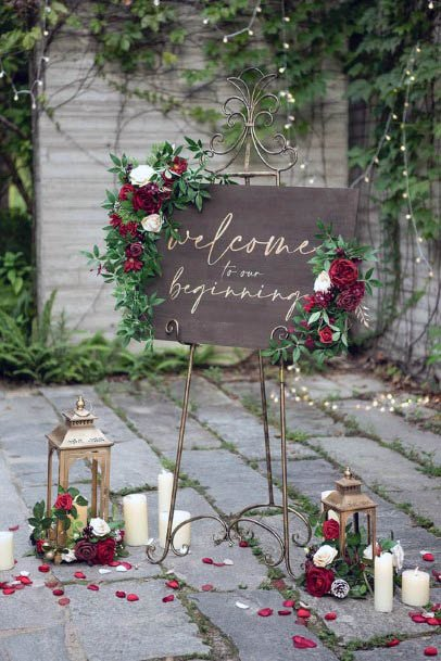 Wedding Welcome Board With Red Flowers