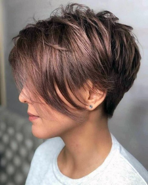 Wedge Bob With Long Front Bangs In Cappuccino Color