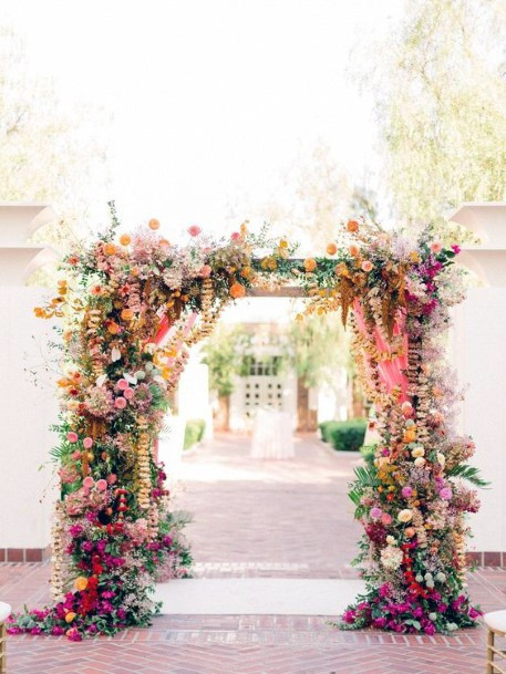 Welcome Arch With Indian Wedding Flowers