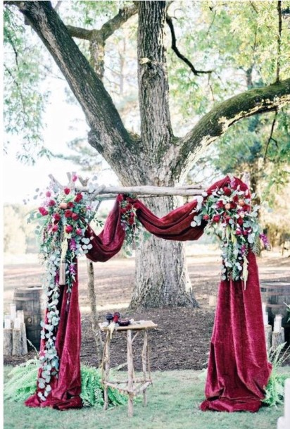 Whimsical Burgundy And Greenery Arch Inspiration Fall Wedding Ideas