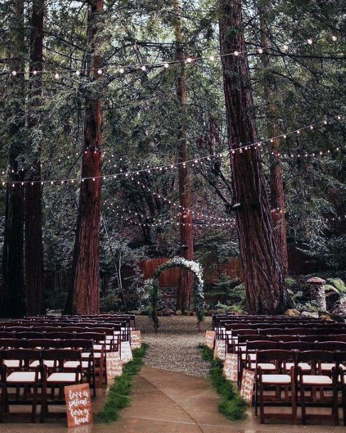 Whimsical Fairy Lights And Wooded Ceremony Backdrop Rustic Wedding Ideas