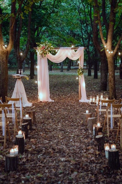 Whimsical Fairy Lights Woodsy Ceremony Decor Rustic Wedding Ideas