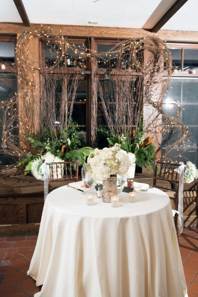 Whimsical Tree Branch And Lights Sweetheart Table Backdrop Rustic Wedding Ideas