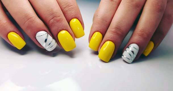 White Accented Bright Yellow Nails For Women