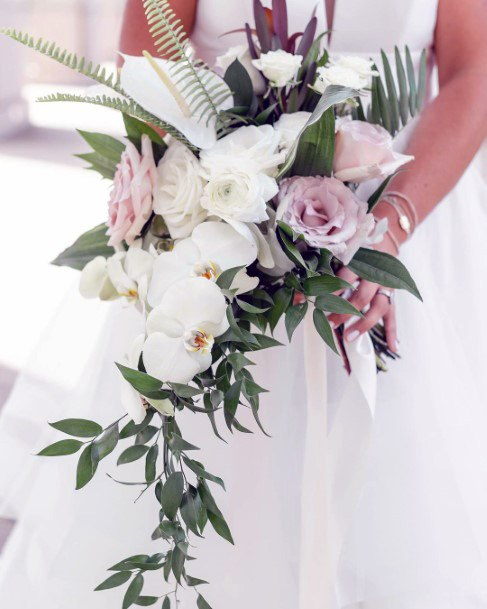 White And Amethyst August Wedding Flowers Bouquet