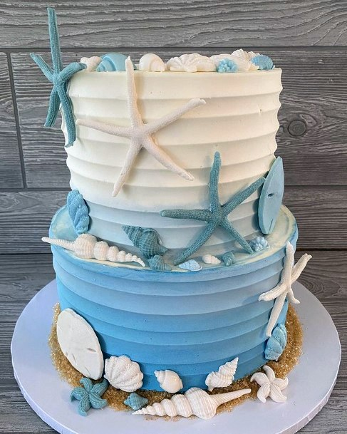 White And Blue Beach Wedding Cake Women