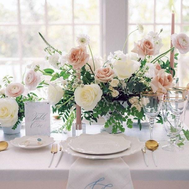 White And Blush Rose Flowers Wedding