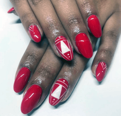 White And Bright Red Nails For Women