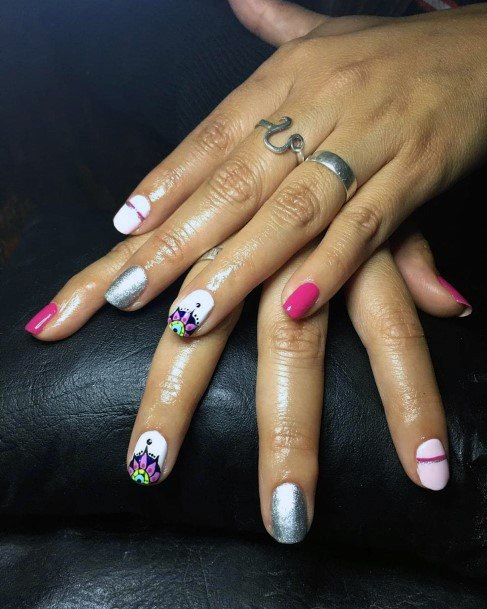 White And Colorful Nail Ideas For Women
