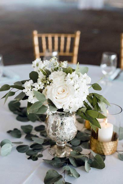 White And Green August Wedding Flowers