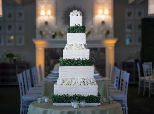 White And Green Square Wedding Cake