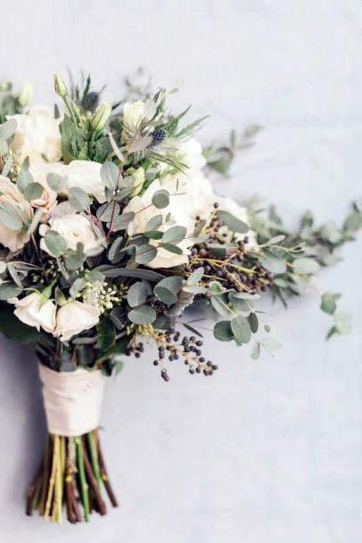 White And Green Tied Rustic Wedding Flowers