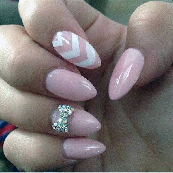 White And Light Pink Chevron And Crytal Bow Nail Art