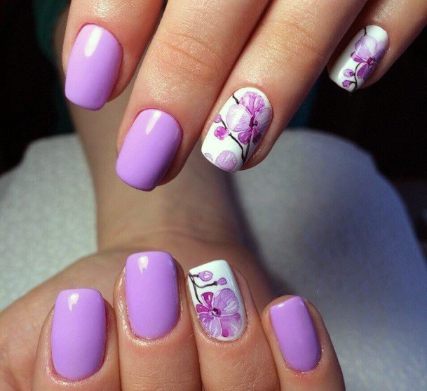 White And Light Purple Orchids Nails