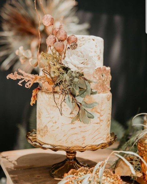 White And Orange 2 Tier Wedding Cake