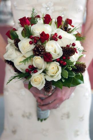 White And Red Roses Christmas Wedding Flowers Bouquet