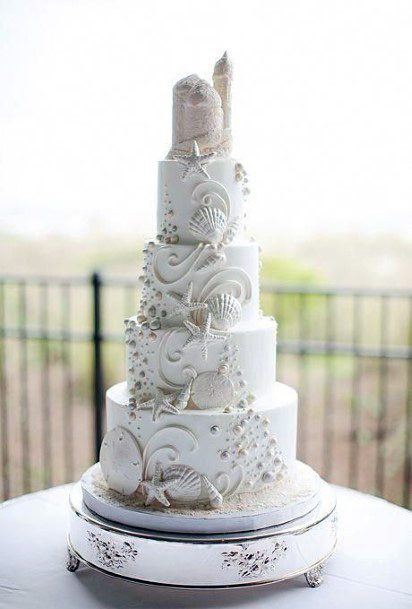White Art Beach Wedding Cake Women