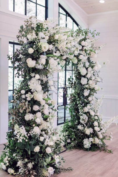 White August Flowrs Wedding Arch
