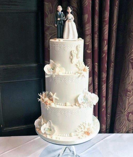 White Beach Wedding Cake Women Figures