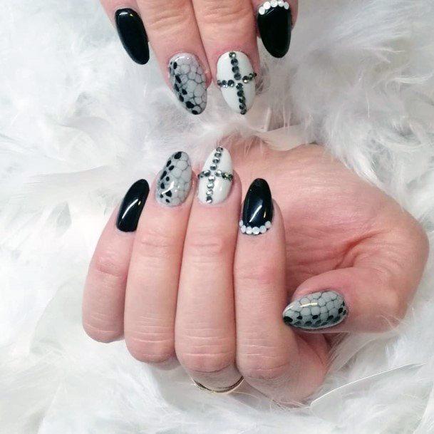 White Black Cobra Skin On Nails With Stones For Women