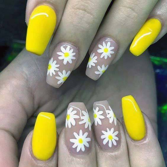 White Blossoms And Bright Yellow Nails Art For Women