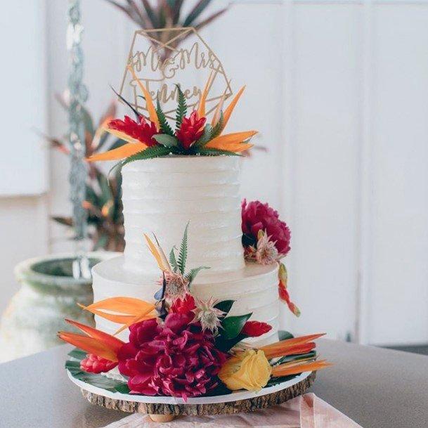 White Cake And Hawaiian Wedding Flowers