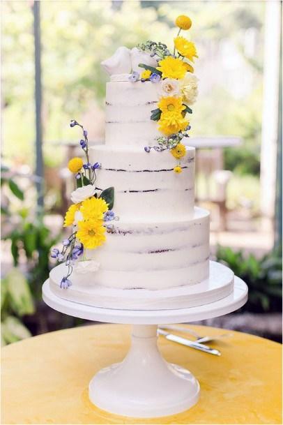 White Cake Yellow Flowers Wedding