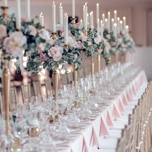 White Candles And May Wedding Flowers