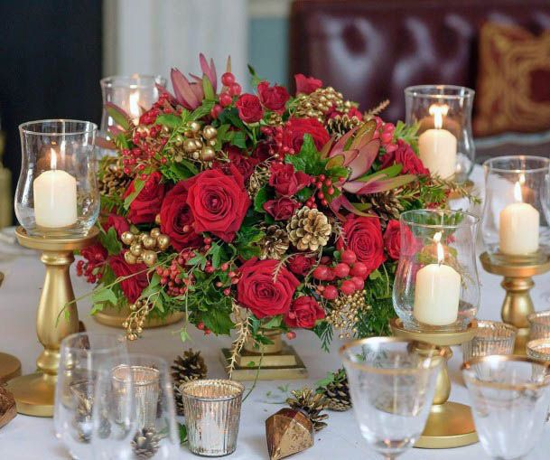 White Candles And Red Wedding Flowers