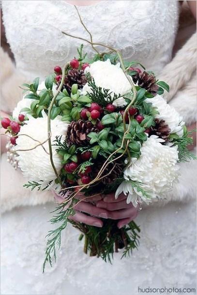 White Christmas Wedding Flowers Decor