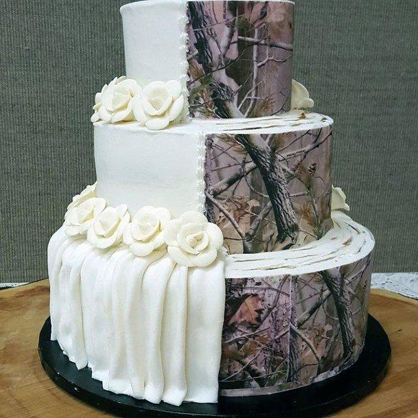 White Cloth Pattern Camo Wedding Cakes