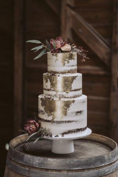 White Cream And Chocolate Wedding Cake