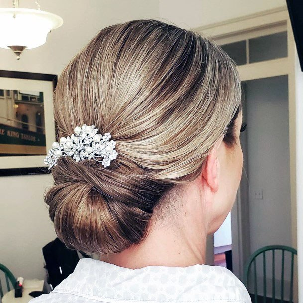 White Crystal Low Chignon Bun Women Hair