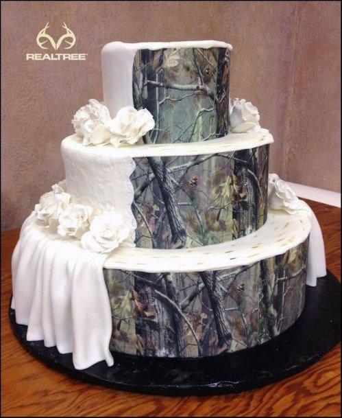 White Curtained Camo Wedding Cake