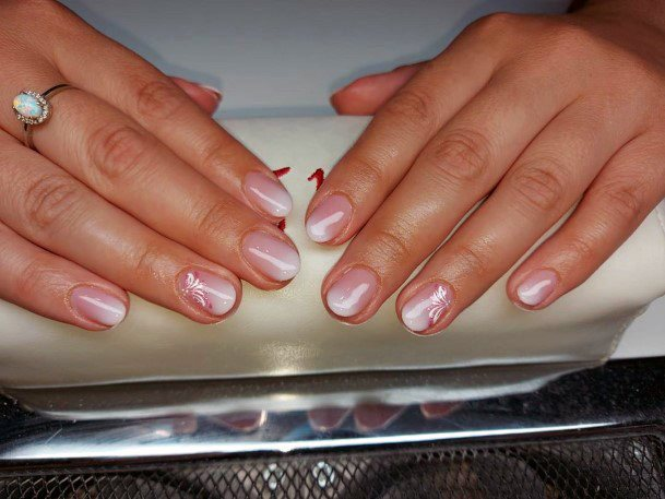 White Design On Natural Nail Ideas For Women