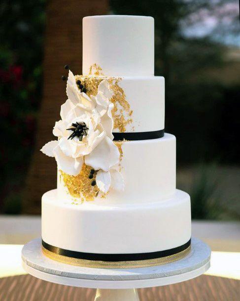White Elegant Wedding Cake With Dark Borders Wedding