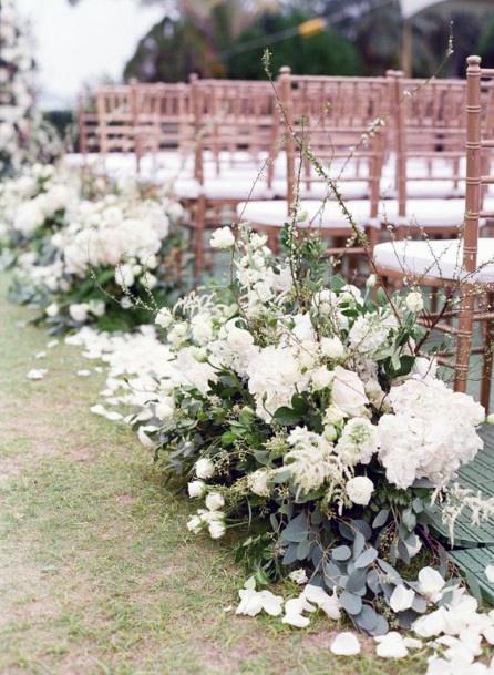 White Explosion Of Hydrangea Wedding Flowers Aisle Decor