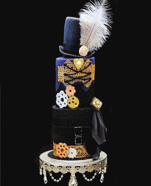 White Feather And Black Unique Wedding Cake