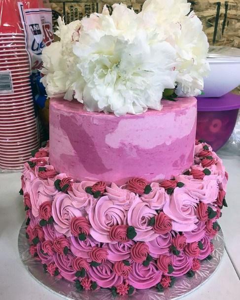 White Flowers And Purple Camo Wedding Cake