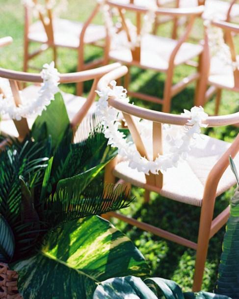 White Garland And Hawaiian Wedding Flowers