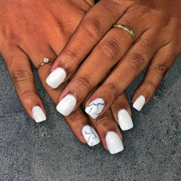 White Gel Nails Marble Texture Women