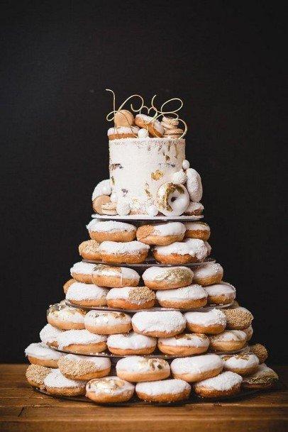 White Glazed Donut Wedding Cake