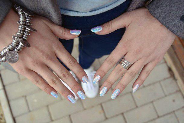 White Glossy White Glass Nails Women