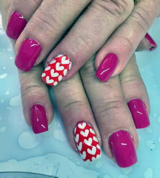 White Hearts And Red Nails Accent And Pink For Women