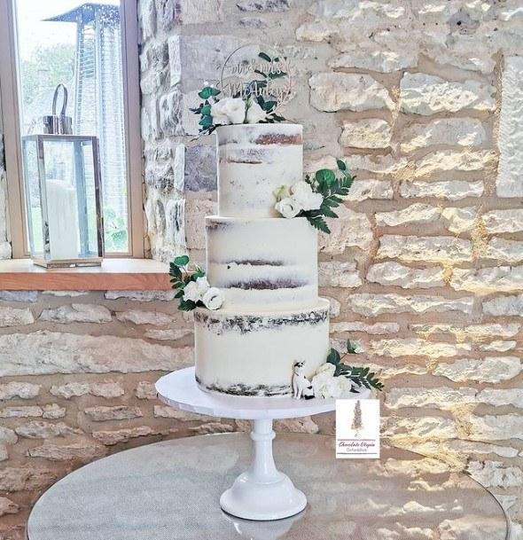 White Icing Chocolate Wedding Cake